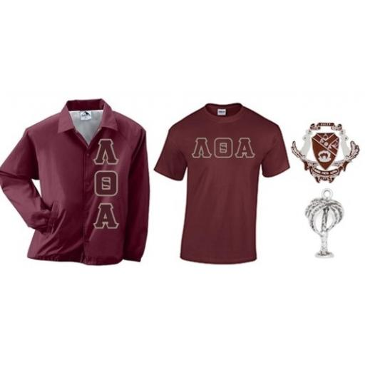 Lambda Theta Alpha Crossing Package 1 Tee Shirt, Crest Pin, Palm Charm and Jacket