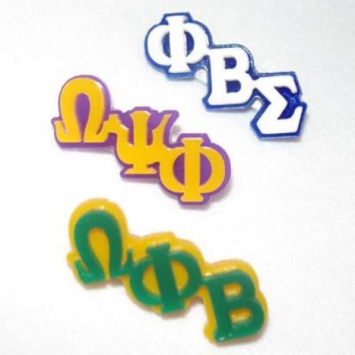 Small Plastic Greek Letter Pin