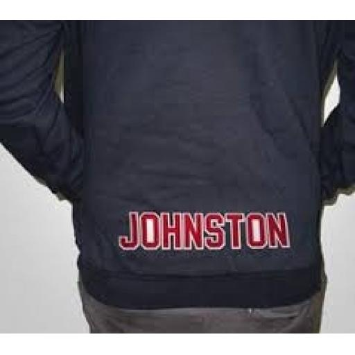 Two Color 2 inch Tackle Twill Letters Sewn On-  Lower Back